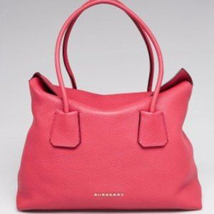 NWT BURBERRY Pink Grained Leather Baynard Tote Bag